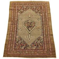 persian hamadan camel hair oriental rug in small size with soft