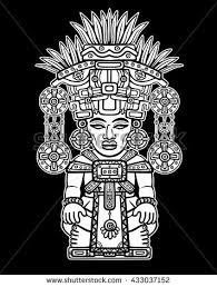 vector illustration sketch drawing aztec cacao stock vector