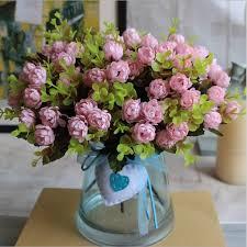 cheap artificial flowers 1 bouquet 15 heads 4cm vintage wedding mini artificial silk