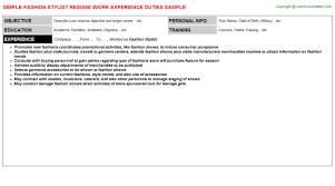 Fashion Stylist Resume Examples by Fashion Stylist Job Title Docs