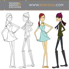 outfitted female fashion croquis sketches vector 123freevectors