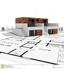 modern home blueprints 3d modern house and blueprints isolated on white royalty free