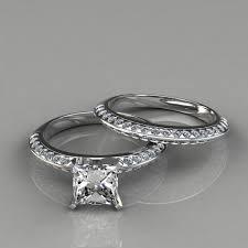 princess cut wedding set knife edge engagement ring wedding band bridal set puregemsjewels