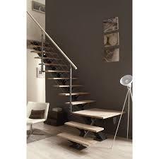 escalier peint en gris escalier quart tournant mona structure aluminium marche bois