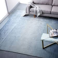 Area Rug Blue Ombre Shine Wool Rug Blue Lagoon West Elm