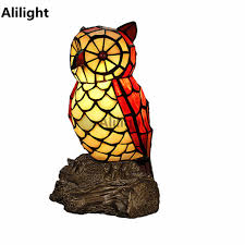Owl Table Lamp Personalized Tiffany Owl Table Lamp Night Light Resin Base Stained