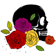 side skull with roses stock vector illustration of