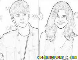 bieber and selena gomez coloring page pages 277570 coloring