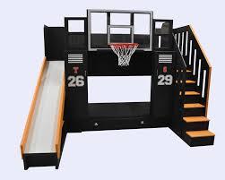 Boys Bunk Beds With Slide Furniture Basketball Hoop For Kids Room Joyous Basketball Goals