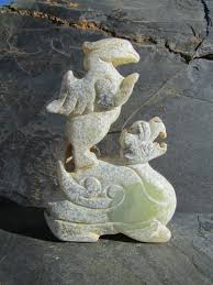 jade stone carving large dragon with phoenix chinese jade