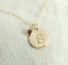 necklace initial images Solid 14k gold personalized initial necklace with birthstone charm jpg