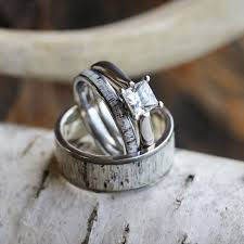 deer antler wedding band deer antler wedding ring set his and hers matching wedding bands