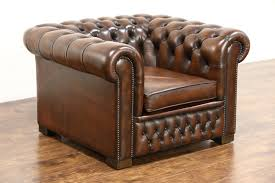 Chesterfield Wing Armchair Tufted Brown Leather Vintage Scandinavian Wing Chair Harp
