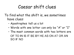 cryptography lecture 2 tuesday june 27th caesar shift plain