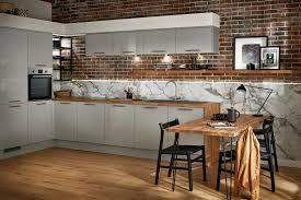 gloss kitchen ideas 10 ideas grey gloss kitchen red brick walls