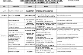 siege ocp casablanca adresse liste des cliniques privees polycliniques c n s s adherentes aux