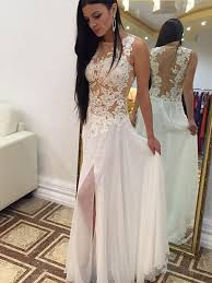 wedding and prom dresses ivory chiffon prom dresses with slit wedding dresses