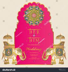 Wedding Invitation Cards India Indian Wedding Invitation Card Templates Gold Stock Vector