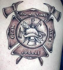 firefighter maltese cross grey ink