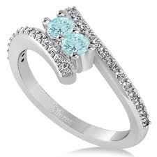 white stone rings images Aquamarine two stone ring w diamonds 14k white gold 0 50ct allurez jpg