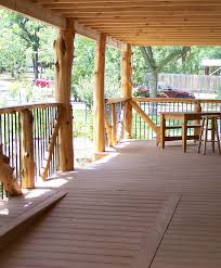 native cedar post porch with composite decking u0026 a living roof