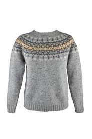 fair isle scottish merino wool yoke fair isle jumper in grey