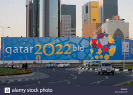 fifa world cup 2022 promotion on a building site fence side in