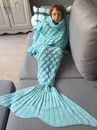 kid blankets azure knitted fish scales design wrap mermaid