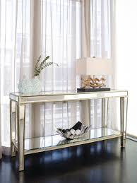 wood and mirrored console table furniture entry narrow mirrored console table with storage and shelf