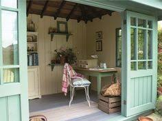 Garden Studio Crafts - garden workshop designed for an old workbench and collection of