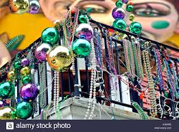 mardis gras decorations mardi gras decorations on balcony in new orleans stock photo