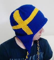 Swidish Flag Hand Knit Sweden Flag Hat With Ear Flap Men Hat In Blue Yellow