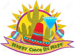 cartoon margarita cinco de mayo banner happy cinco de mayo banner with sombrero