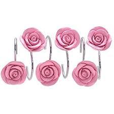 Pink Flower Shower Curtain Amazon Com Carnation Home Fashions Primrose Shower Curtain Hooks