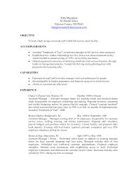 Sample Resume Objectives Maintenance by Objective Restaurant Resume Objective