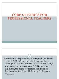 Counseling Code Of Ethics Philippines Code Of Ethics For Professional Teachers Profession Teachers