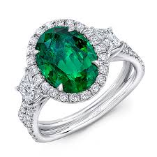 emerald stones rings images Uneek three stone ring with oval green emerald center and pave jpg