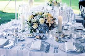 blue centerpieces simple and neat white wedding design and decoration using