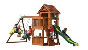 exterior awesome playground children with wood house toy and