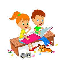 kids reading bench boy and girl sitting on the bench and reading stock vector