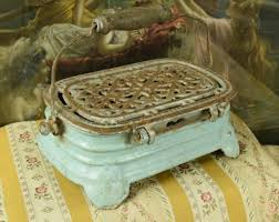 b619 s superb antique french enamelled cast iron foot warmer