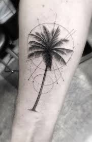 magnificent painted big palm tree with circles on arm