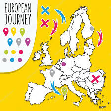 Travel Map Of Europe by Cartoon Style Hand Drawn Travel Map Of Europe With Pins Vector