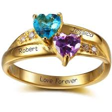 mothers rings 2 stones 2 two hearts 14k gold plate mothers ring think engraved