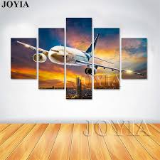 airplane home decor 5 piece canvas art airplane wall painting home decor modern planes