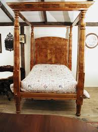 four poster canopy bed american c 1840 empire burl maple from
