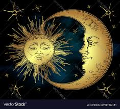 antique style golden sun crescent moon and vector image