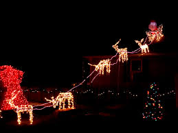 reindeer pulling santa u0027s sleigh holiday christmas lights picture