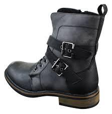 mens black leather biker boots mens punk rock goth elmo biker ankle boots leather buckle fur
