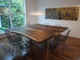 wood slab dining table dining room contemporary with lights metal